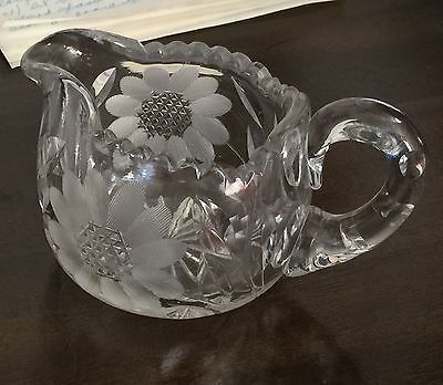 Vintage Lead cut crystal- hand etched glass creamer- early 1900's