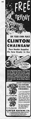 1954 Clinton CS323 Chainsaw & Gasoline Engine 1600 2500 Print Ad