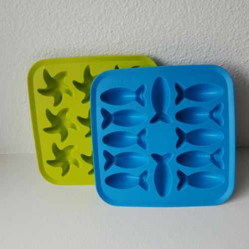 Lot of 2 IKEA Ice Flexible Shape Molds Fish Starfish