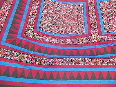 CROSS STITCH bohemian PATCHWoRK black red EXOTIC QUILT top boho BLANKET