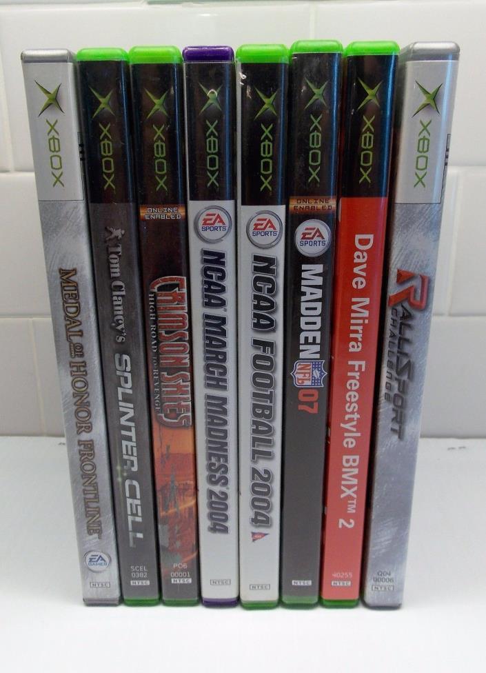Xbox Games lot of 9 BMX, FOOTBALL, BASEBALL, SPLINTER CELL CRIMSON SKIES & MORE