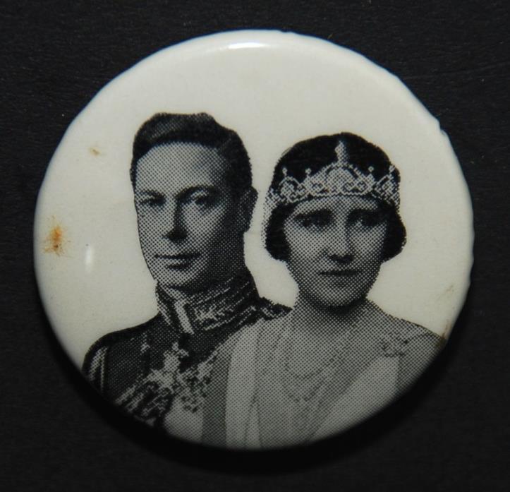 Vintage KING GEORGE VI + QUEEN ELIZABETH Coronation CANADA Pinback Button Pin