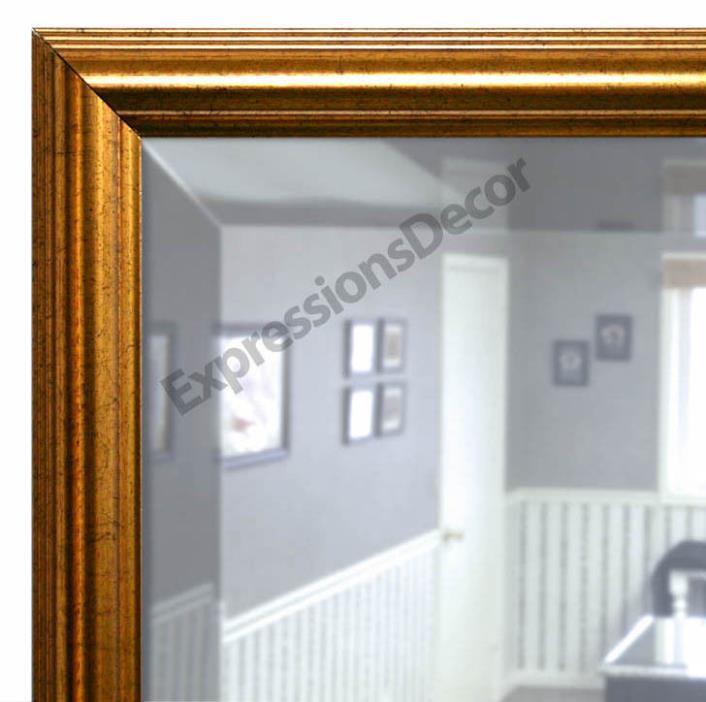 Custom Gold Roundover Beveled Wall Mirror, Mantle & Bathroom Art Decor