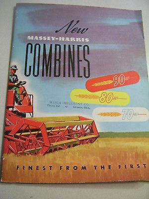 VINTAGE MASSEY FERGUSON ADVERTISING BROCHURE -70  80  90 SP COMBINES - 1952