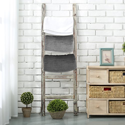 4 Foot Decorative Rustic Finish Wooden Bookcase Ladder Display Shelf Rack