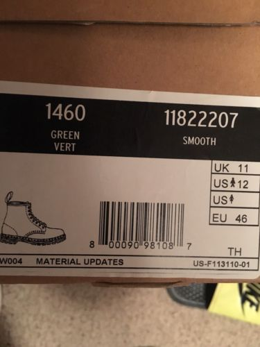 Doc Marten Rubber Boot Dark Green Style 1460 Size 12