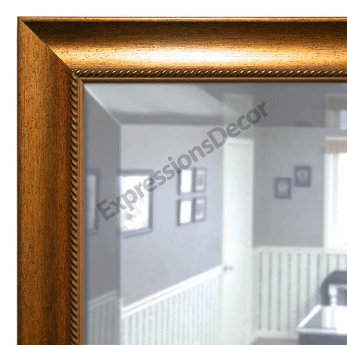 Custom Gold Speckle Rope Design Beveled Wall Mirror, Mantle & Bathroom Art Decor