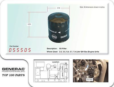 Generac Oil Filter 055505 For 2.5, 3.0, 5.0, 5.7, 7.4L GM Gas Engine Units