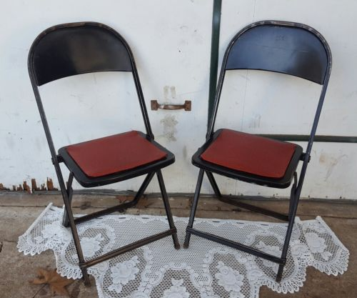 Vintage Hampden 2 fold up red vinyl black Metal Folding Chairs Retro Industrial