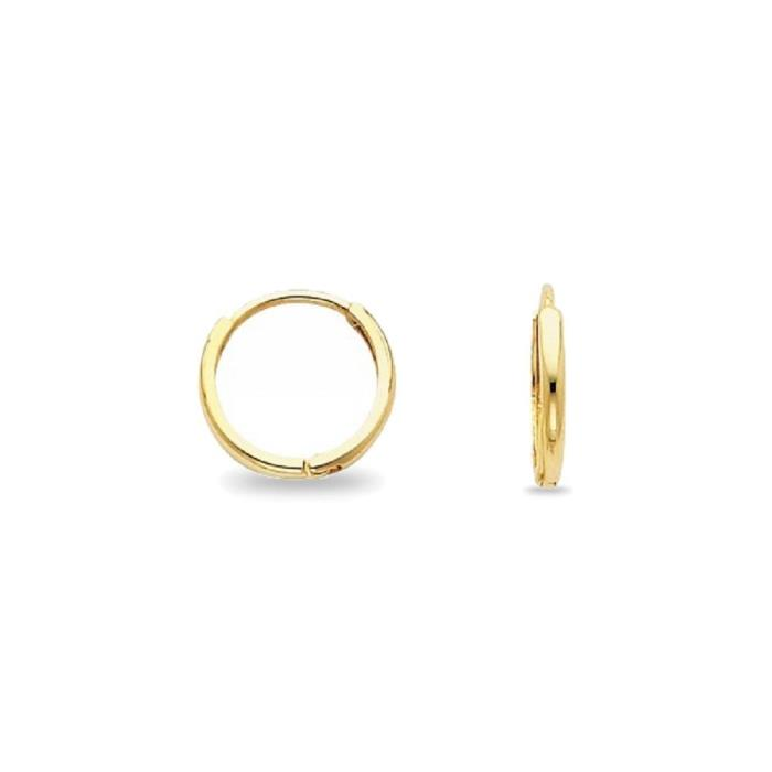 Solid 14k Yellow Gold Round Huggie Hoop Earrings Small Plain Tube Polished Tiny