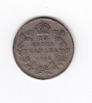 1936 Canada Silver 10-Cent Dime Coin – Bar Varient – F