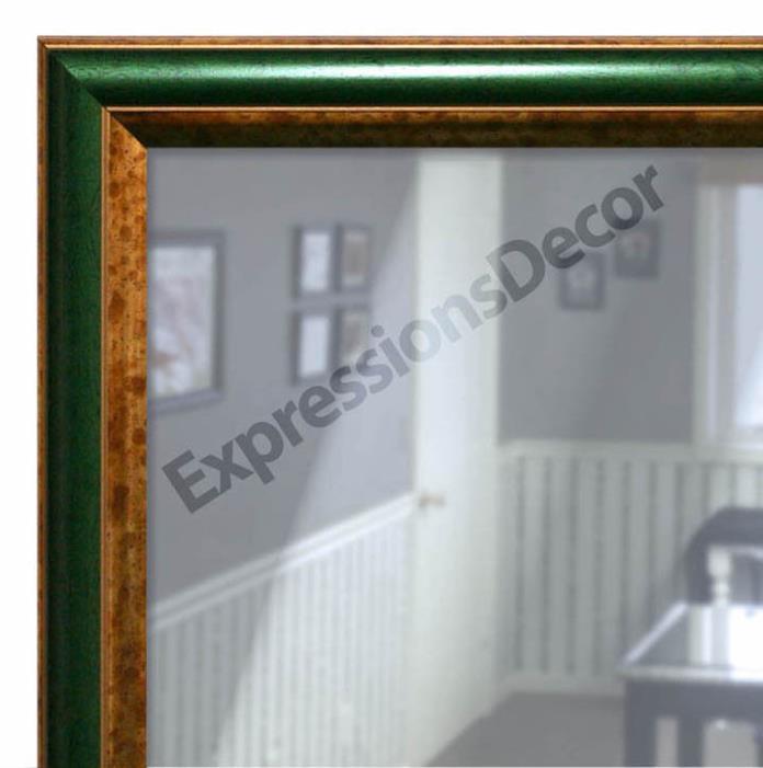 Custom Green & Gold Roundover Flat Glass Wall Mirror, Mantle & Bathroom Decor