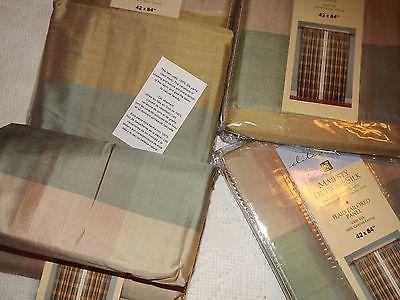 4 Panels VINTAGE Plaid DUPIONI SILK CURTAINS 42 x 84
