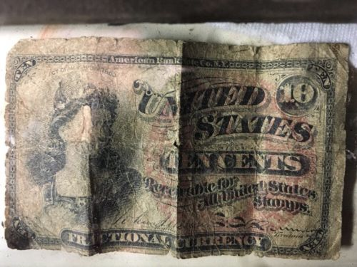 1863 United States Fractional Currency Note 10 Cents Paper Money FRACTIONAL NOTE