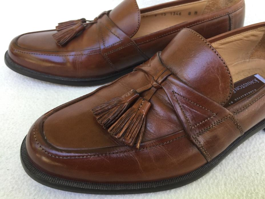 Johnston & Murphy Horner 1346 Saddle Tan Leather Tassel Loafers Shoes Men's 8 M