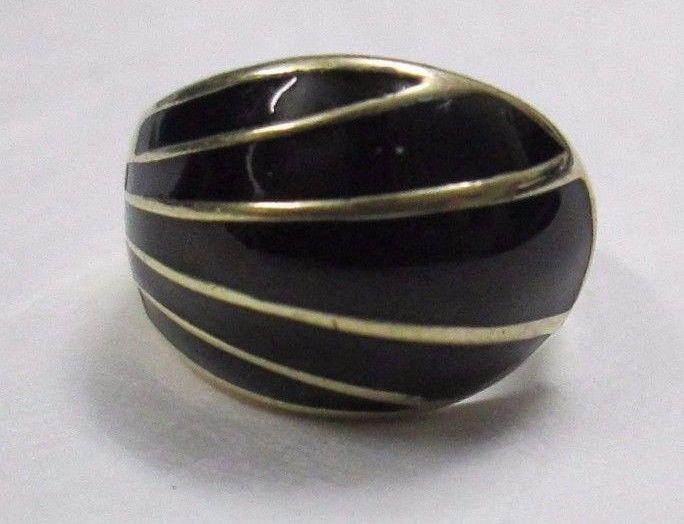 Vintage David Andersen Norway 925 Sterling Silver Black Enamel Ring 7.3g Size 6