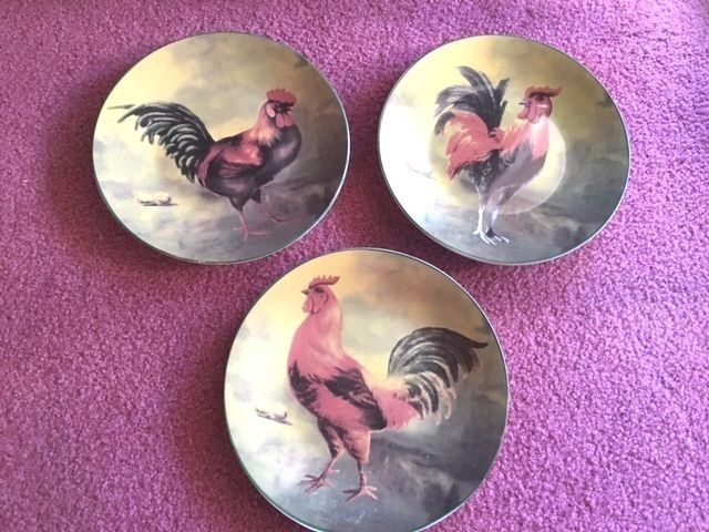 3 Rooster Decorator Plates