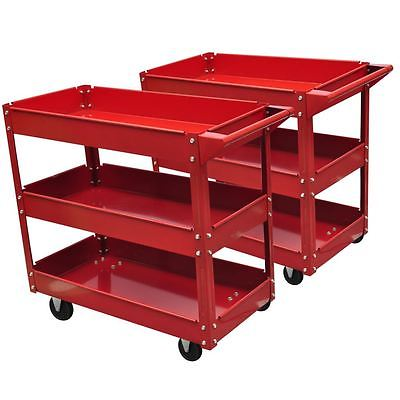 2x Rolling 3 Tray Utility Cart Dolly 220lbs Storage Shelves Workshop Garage Tool