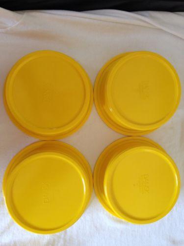 4 Yellow Dansk Cereal Stackable Bowls Plastic Melmac Melamine