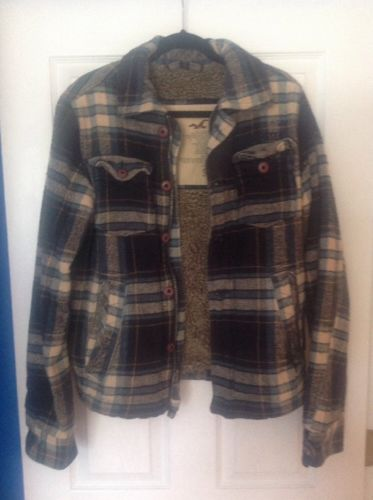 MENS HOLLISTER NAVY BLUE  PLAID JACKET COAT size SMALL S