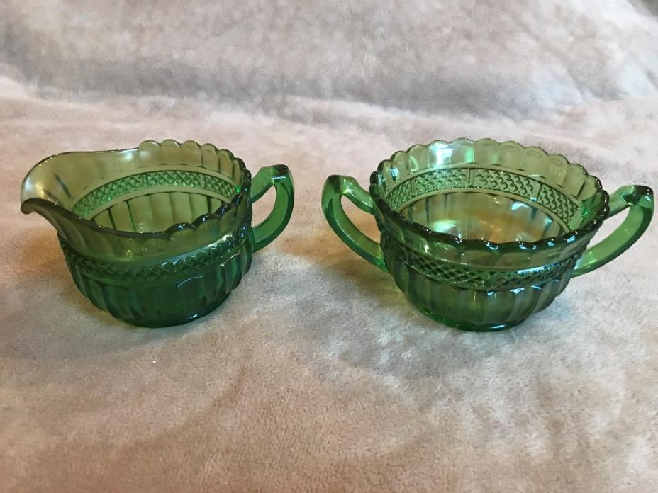 Vintage~Northwood Green Lustre Flute~Creamer~Pitcher & Sugar Bowl~Carnival Glass