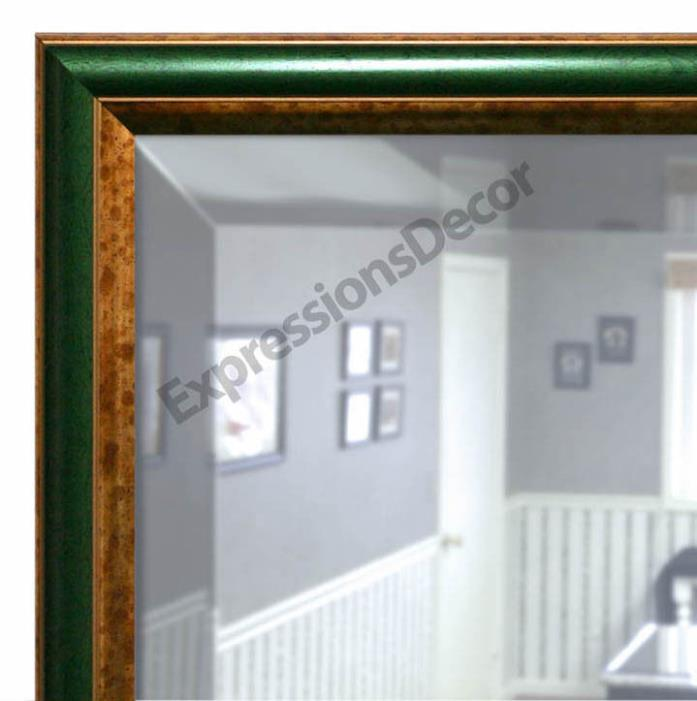 Custom Green & Gold Roundover Beveled Wall Mirror, Mantle & Bathroom Art Decor
