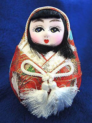 Cloth face Japanese roly poly doll daruma 1990's red kimono wedding doll 4