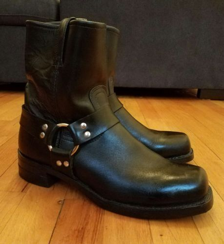 Frye Harness 10.5 M Mens boots black leather western motorcycle pull on USA