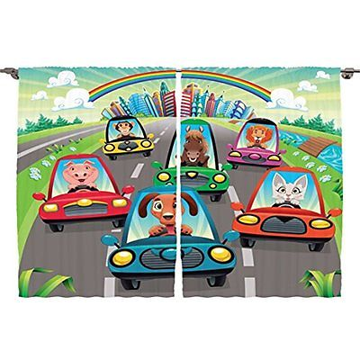 Ambesonne Kids Toddlers Room Curtains Decor Collection, Colorful Funny Animals 2