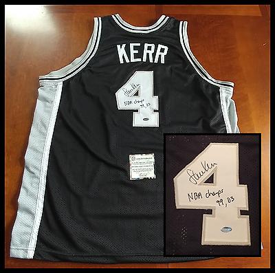STEVE KERR autographed signed SAN ANTONIO SPURS black jersey w/NBA Champs 99, 03