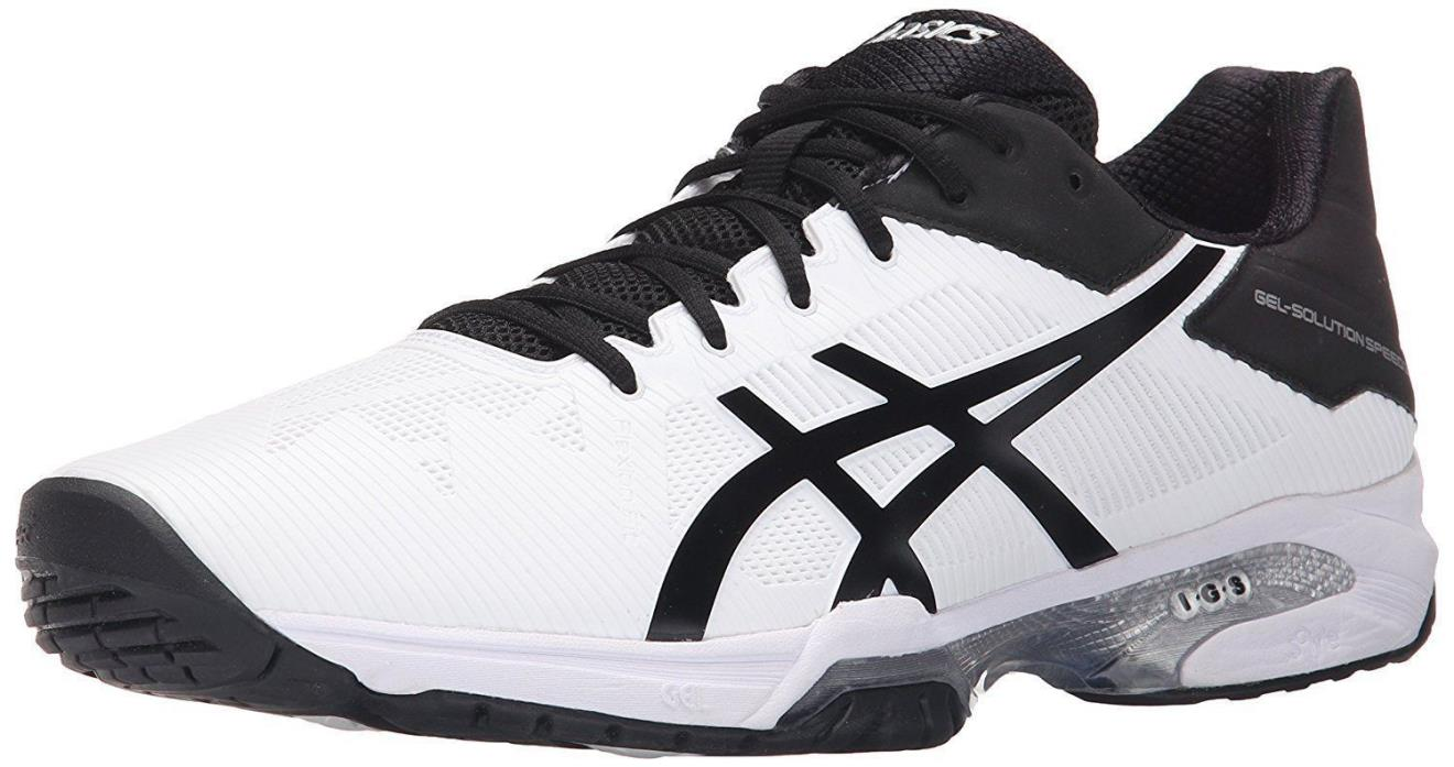 ASICS GEL Solution Speed 3 Men's Tennis Shoes Sz 8 White/Black/Silver Reg $130
