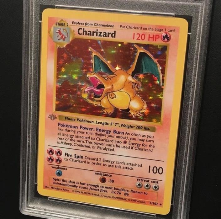 1st edition Charizard base set PSA 8 Grey stamp