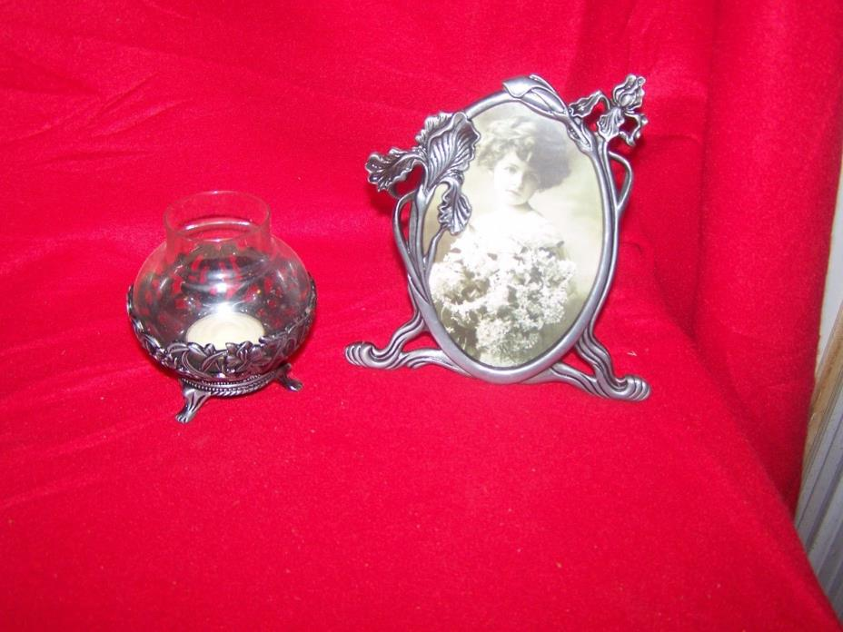 FLORAL PEWTER GIFT SET,  IRIS SET  50638  FRAME AND CANDLE
