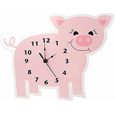 Trend Lab Baby Barnyard Clocks Wall Clock, Piglet