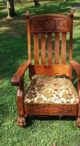 Antique oak rocking chair lions paw Lion's paw hand carved oak