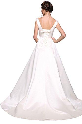 ANGVNS Women 2017 A Line V Neck Sleeveless Satin Long Wedding Dress Bridal Gown