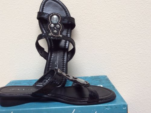 CL Laundry summer black low heel sandals slip on