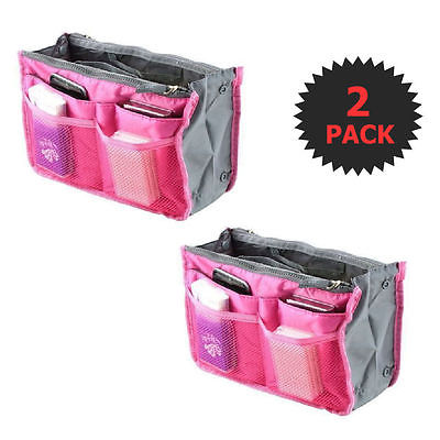 Rose Pink 2 X Large Purse Organizer Insert Pack Women Travel Set Handbag Liner T