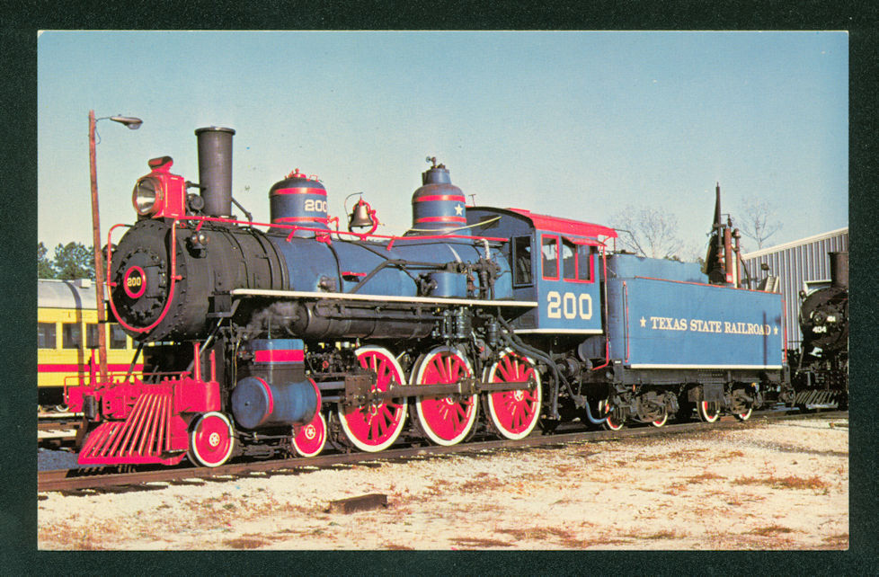 Texas State Railroad Engine 200 4-6-0 Ten Wheeler RUSK TEXAS Railroad Postcard