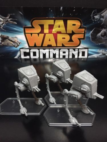 Lot Of 3 Star Wars Command Imperial AT-ST Chicken Walker Vehicles With Stands