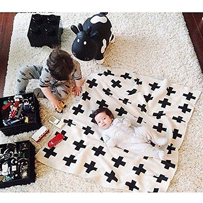 IEVE Black and White Bed Blankets Swiss Cross Toddler Throw Blanket For Baby