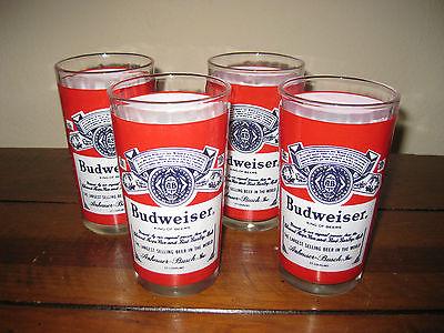 Four (4) Vintage Anheuser Busch Budweiser King of Beer Glasses