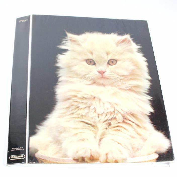 Vintage Mead Cat Tri Fold Binder Fluffy Kitty The Organizer