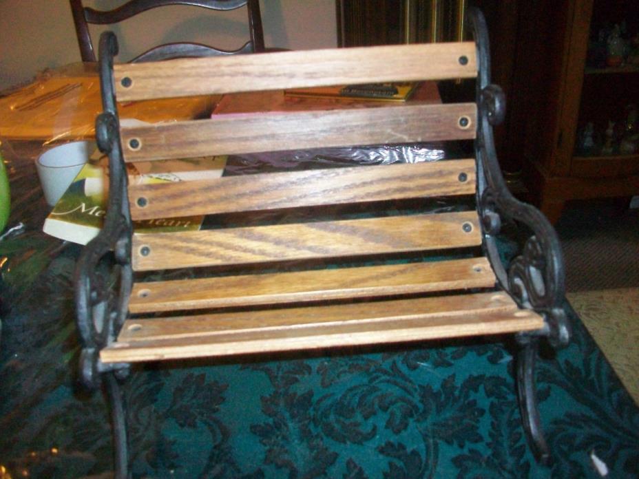 Cast Iron Park Bench Wood Slat Seat Doll Bear Display Furniture 9.5