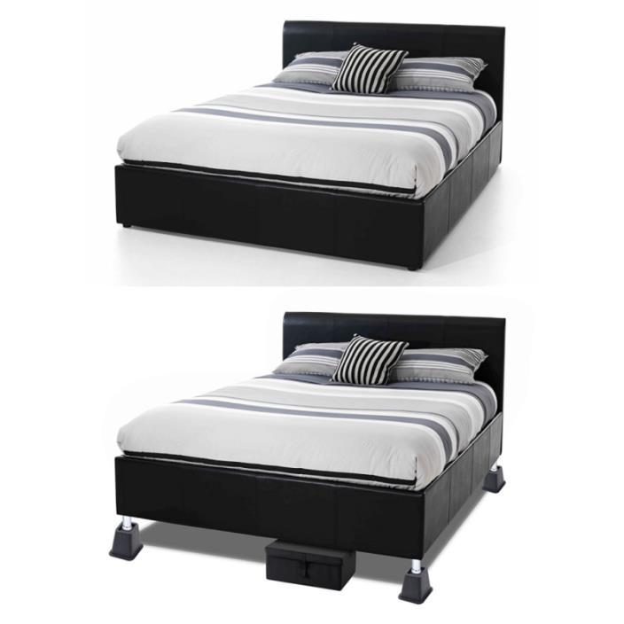 Under Bed Leg Risers Bedroom Dormroom Storage Desk Table Sofa Coach Black 4 Pack