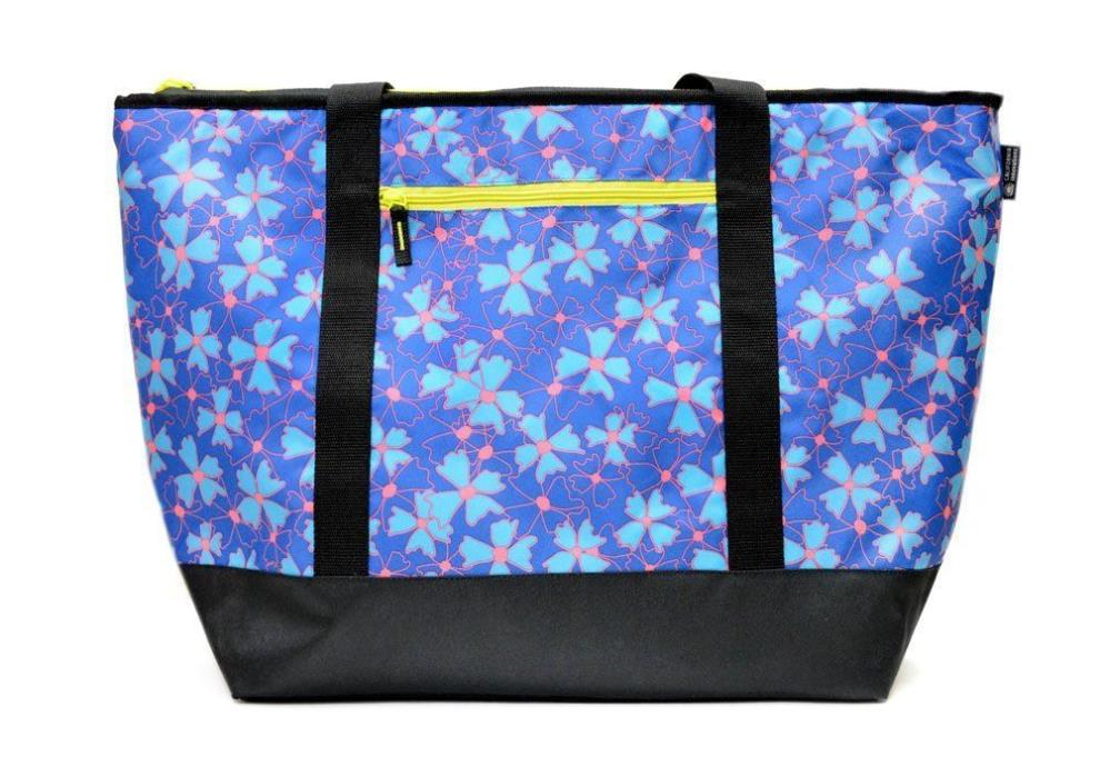 Cooler Insulated Mega Tote Bag  XXL Floral Print Neon for Hot & Frozen Food NWT