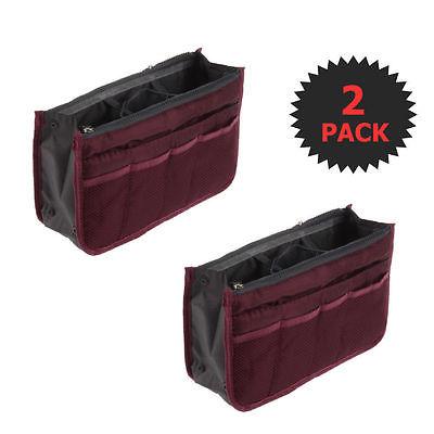 Wine Red 2 X Large Purse Organizer Insert Pack Women Travel Set Handbag Liner Ti