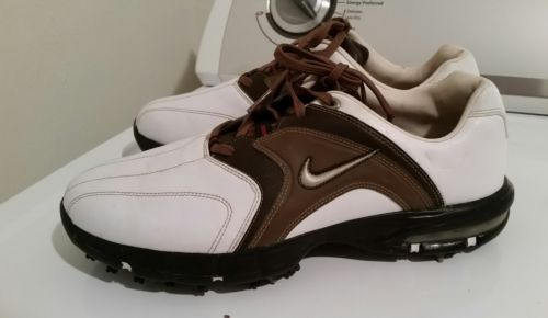 Nike Air Golf shoes.   White and brown. Size 8