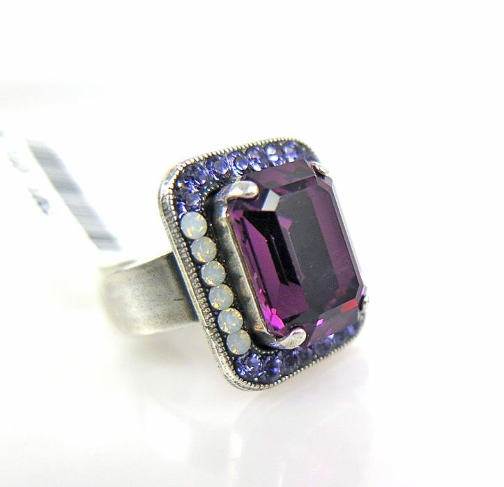 MARIANA PURPLE RAIN SILVER ADJUSTABLE RING Swarovski Crystal White Opal Violet