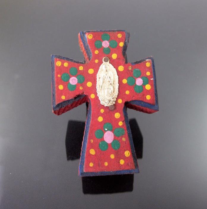 Mexican Folk Art Tin Milagro Our Lady of Guadalupe Wood Cross Red Wall Hanging